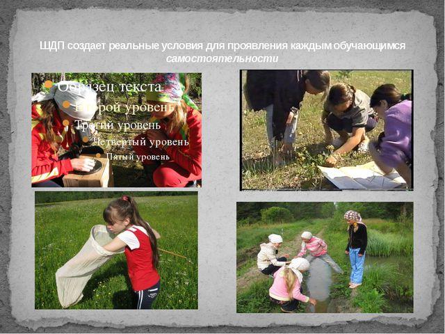 ШДП создает реальные условия для проявления каждым обучающимся самостоятельно...