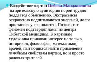 Воздействие картин Цебека Манджиевича на зрительскую аудиторию порой трудно п