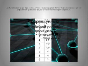 Арабы записывают цифры справа налево, начиная с младших разрядов. Поэтому ув