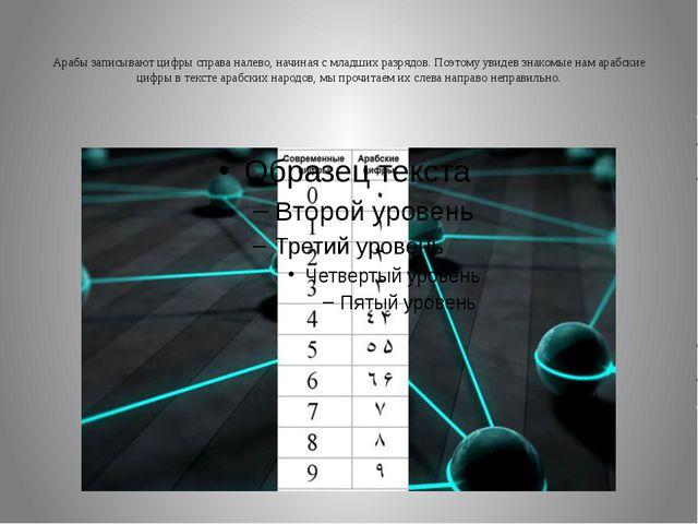 Арабы записывают цифры справа налево, начиная с младших разрядов. Поэтому ув...