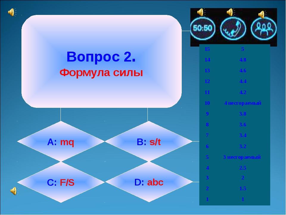 Вопрос 2. Формула силы А: mq B: s/t C: F/S D: abc 155 144.8 134.6 124.4...