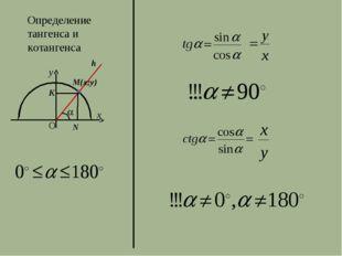 Определение тангенса и котангенса