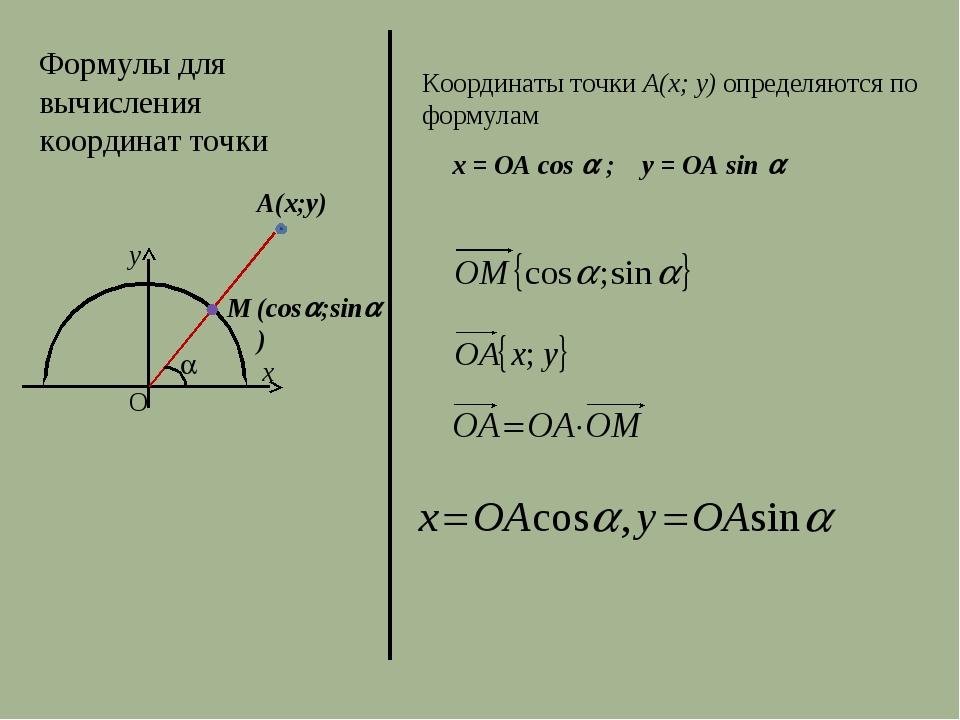 Формулы для вычисления координат точки А(x;y) Координаты точки А(x; y) опреде...