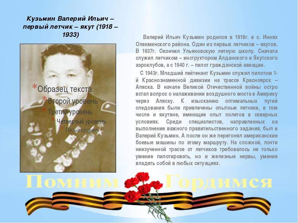 Кузьмин Валерий Ильич – первый летчик – якут (1918 – 1933) Валерий Ильич Куз...