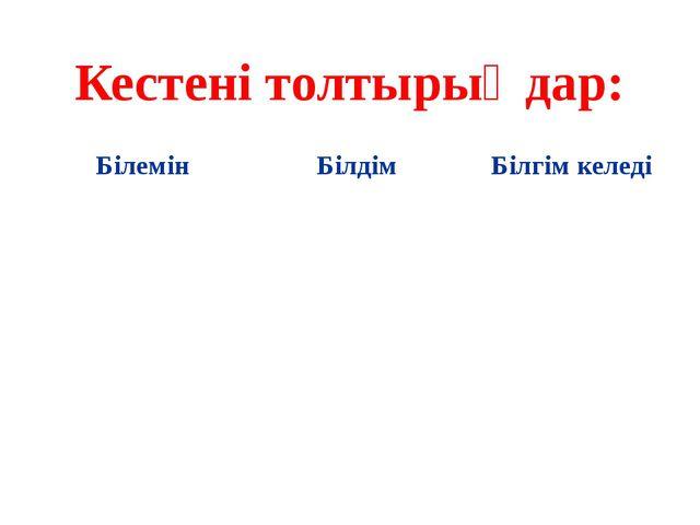 Кестені толтырыңдар: Білемін Білдім Білгімкеледі