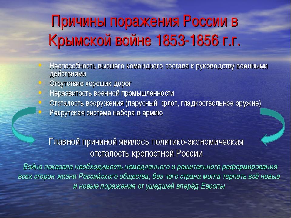 Причины поражения России в Крымской войне 1853-1856 г.г. Неспособность высшег...