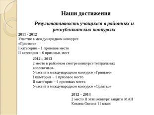 2011 - 2012 Участие в международном конкурсе «Гринвич» I категория – 1 призо
