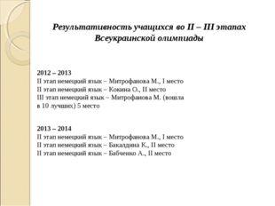 Результативность учащихся во II – III этапах Всеукраинской олимпиады 2012 – 2