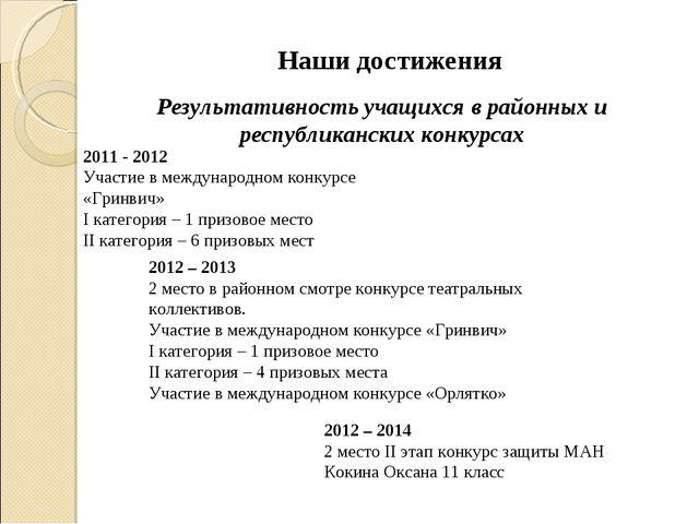 2011 - 2012 Участие в международном конкурсе «Гринвич» I категория – 1 призо...