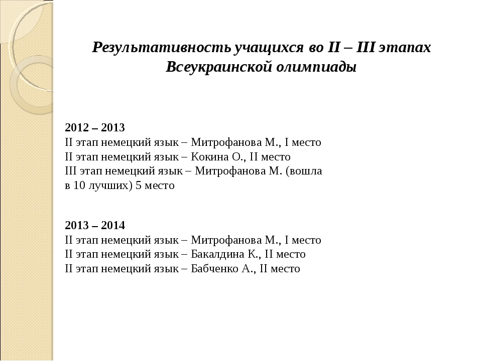 Результативность учащихся во II – III этапах Всеукраинской олимпиады 2012 – 2...