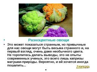 Разноцветные овощи Это может показаться странным, но привычные для нас овощи