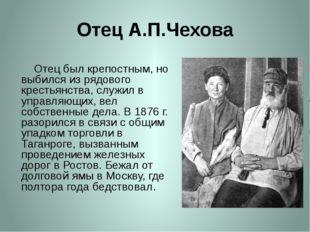 Отец А.П.Чехова     Отец был крепостным, но выбился из рядового крестьянства