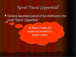 "Novel ""David Copperfield"" Dickens described period of his childhood in the no"