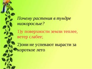 Почему растения в тундре низкорослые? 1)у поверхности земли теплее, ветер сла