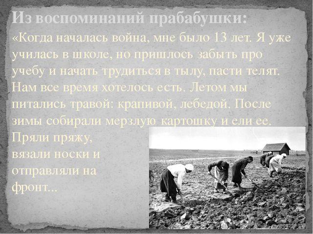 Из воспоминаний прабабушки: «Когда началась война, мне было 13 лет. Я уже учи...