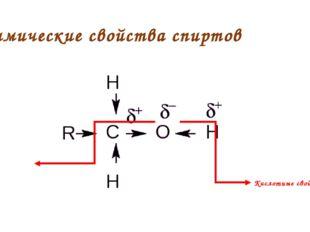 Химические свойства спиртов Кислотные свойства Основные свойства