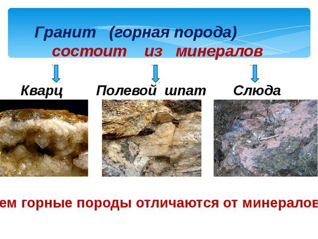 Гранит (горная порода) состоит из минералов Кварц Полевой шпат Слюда Чем горн...