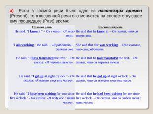 а) Если в прямой речи было одно из настоящих времен (Present), то в косвенн