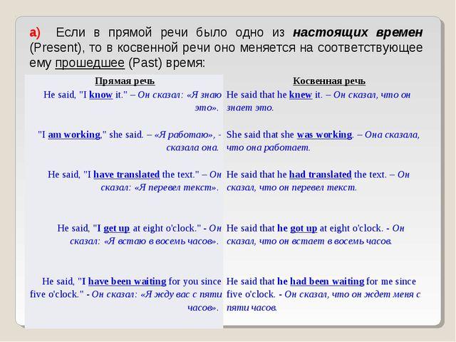 а) Если в прямой речи было одно из настоящих времен (Present), то в косвенн...