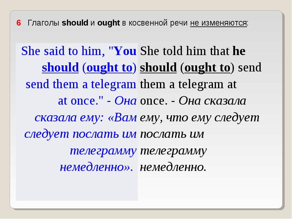 """6 Глаголы should и ought в косвенной речи не изменяются: She said to him, """"..."""