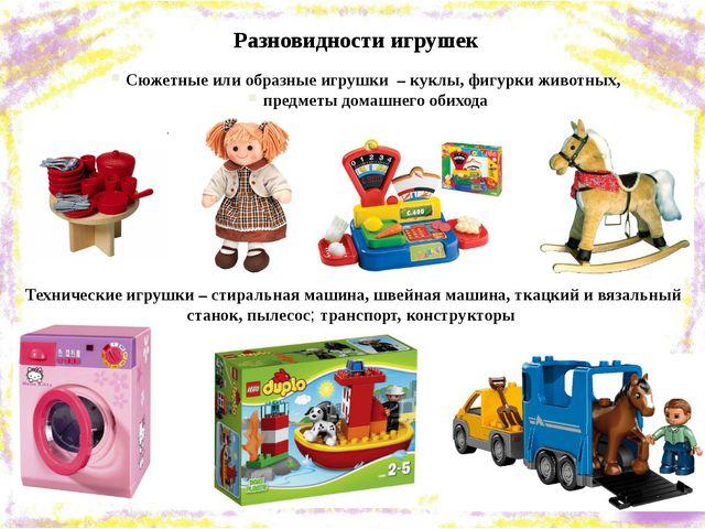 Разновидности игрушек Сюжетные или образные игрушки – куклы, фигурки животных...