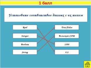 1 балл К какой алгоритмической конструкции относится каждая часть программы