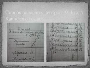 Список волосных центров 1911 года Каинского уезда.
