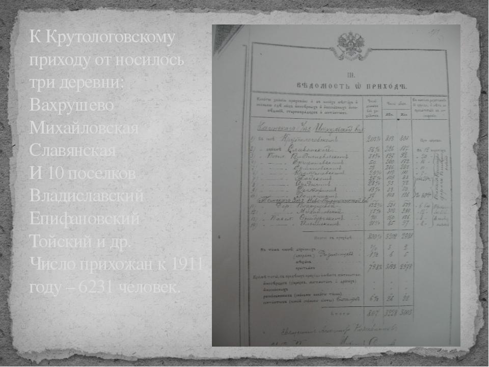 К Крутологовскому приходу от носилось три деревни: Вахрушево Михайловская Сла...