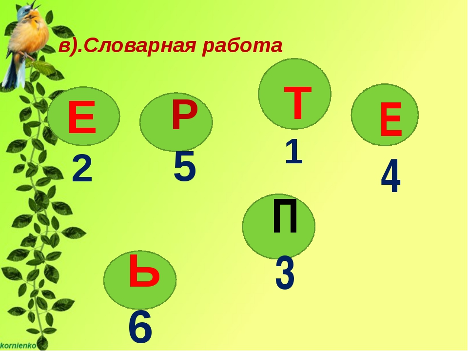 Т 1 в).Словарная работа Р 5 Е 2 Ь 6 2 П 3 е Е 4