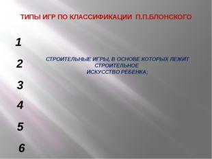 ТИПЫ ИГР ПО КЛАССИФИКАЦИИ П.П.БЛОНСКОГО СТРОИТЕЛЬНЫЕ ИГРЫ, В ОСНОВЕ КОТОРЫХ Л