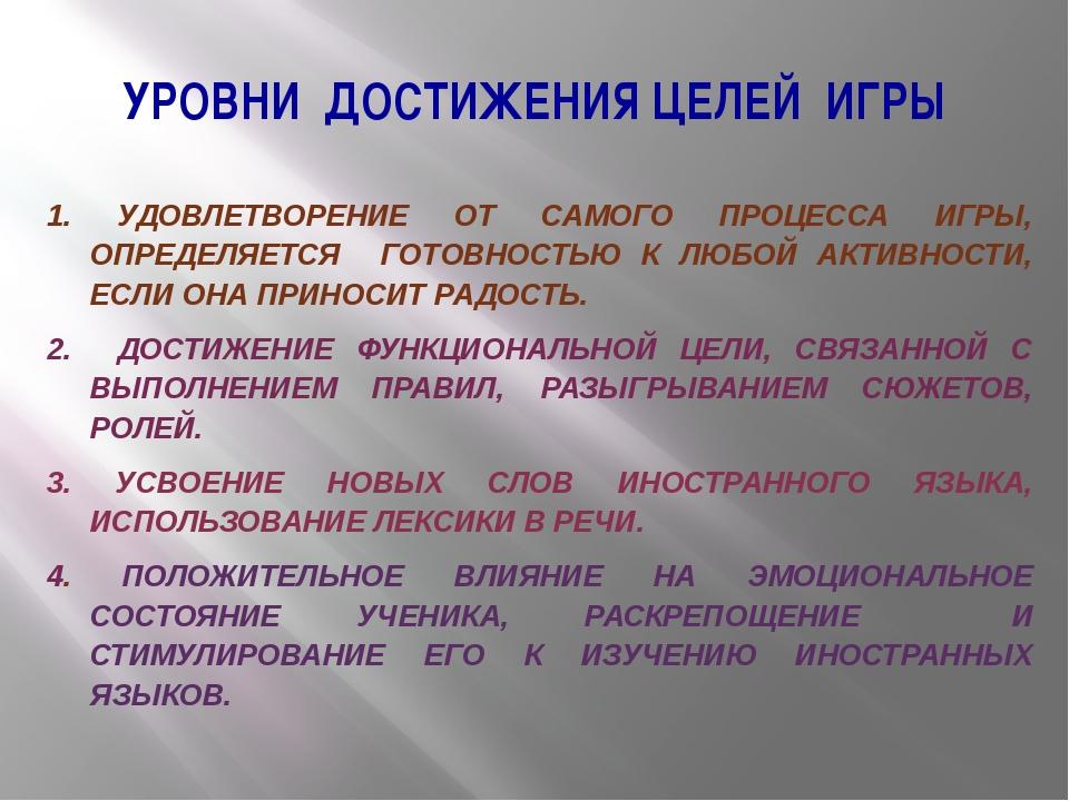 УРОВНИ ДОСТИЖЕНИЯ ЦЕЛЕЙ ИГРЫ 1. УДОВЛЕТВОРЕНИЕ ОТ САМОГО ПРОЦЕССА ИГРЫ, ОПРЕД...
