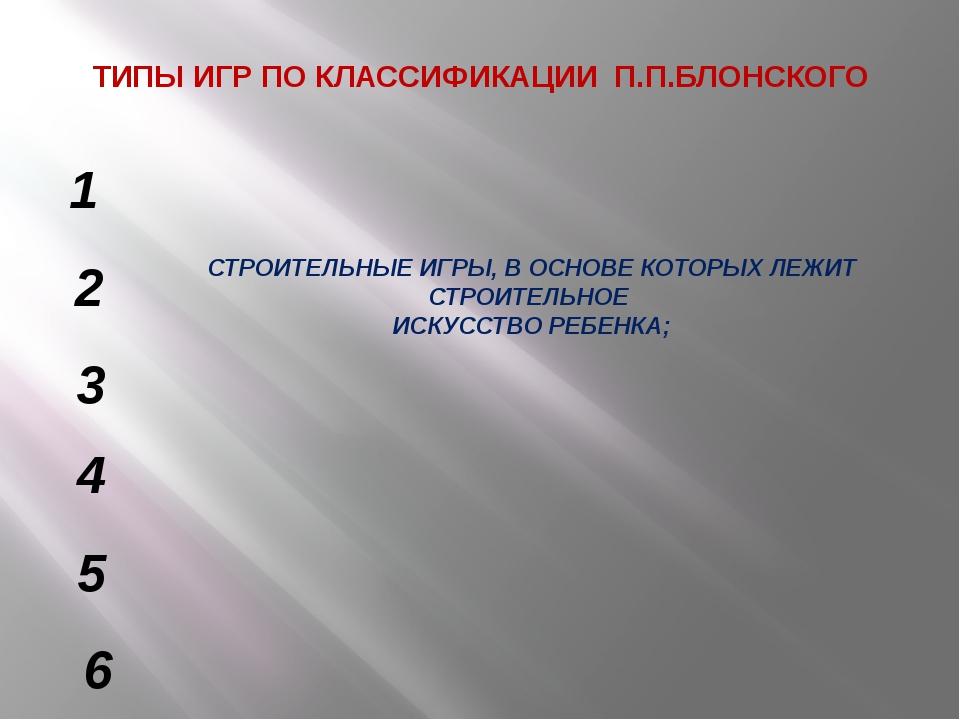 ТИПЫ ИГР ПО КЛАССИФИКАЦИИ П.П.БЛОНСКОГО СТРОИТЕЛЬНЫЕ ИГРЫ, В ОСНОВЕ КОТОРЫХ Л...