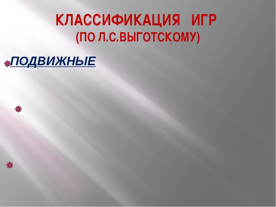 КЛАССИФИКАЦИЯ ИГР (ПО Л.С.ВЫГОТСКОМУ)
