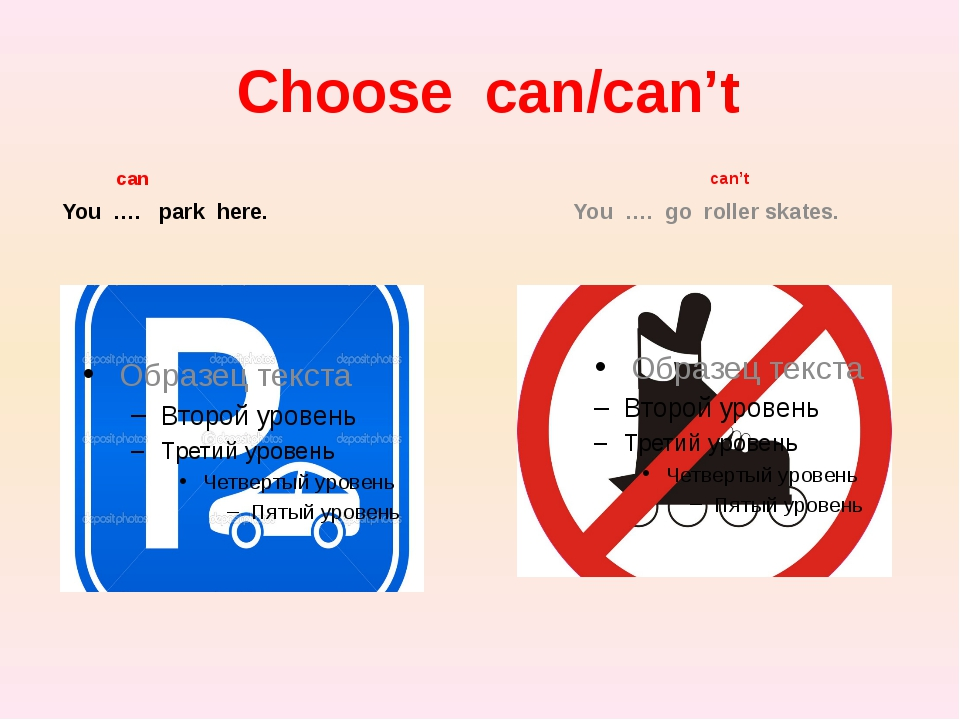 Choose can/can't can You …. park here. can't You …. go roller skates.