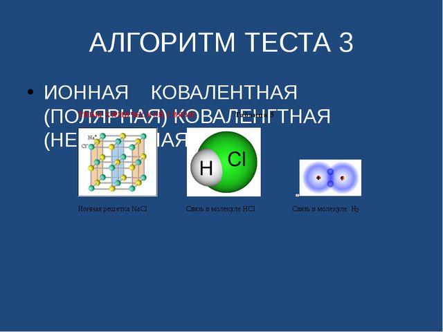 АЛГОРИТМ ТЕСТА 3 ИОННАЯ КОВАЛЕНТНАЯ (ПОЛЯРНАЯ) КОВАЛЕНГТНАЯ (НЕПОЛЯРНАЯ)