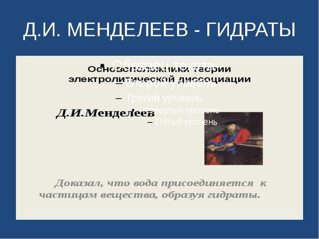 Д.И. МЕНДЕЛЕЕВ - ГИДРАТЫ