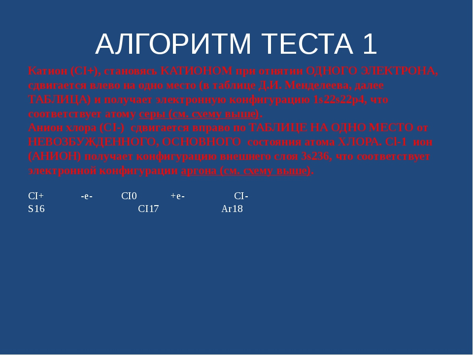 АЛГОРИТМ ТЕСТА 1 CI+ -e- CI0 +e- CI- S16 CI17 Ar18 CI+ -e- CI0 +e- CI- S16 CI...