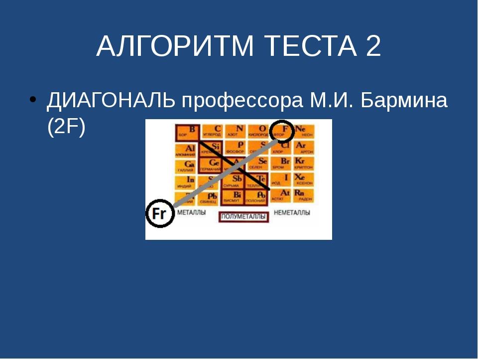 АЛГОРИТМ ТЕСТА 2 ДИАГОНАЛЬ профессора М.И. Бармина (2F)