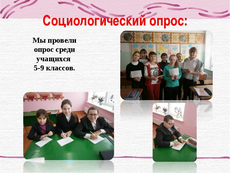 Социологический опрос: Мы провели опрос среди учащихся 5-9 классов.