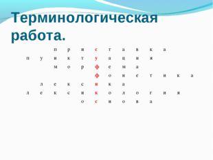 Терминологическая работа. приставка пунктуация м