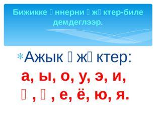 Ажык үжүктер: а, ы, о, у, э, и, ө, ү, е, ё, ю, я. Бижикке үннерни үжүктер-бил