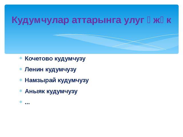 Кочетово кудумчузу Ленин кудумчузу Намзырай кудумчузу Аныяк кудумчузу ... Куд...