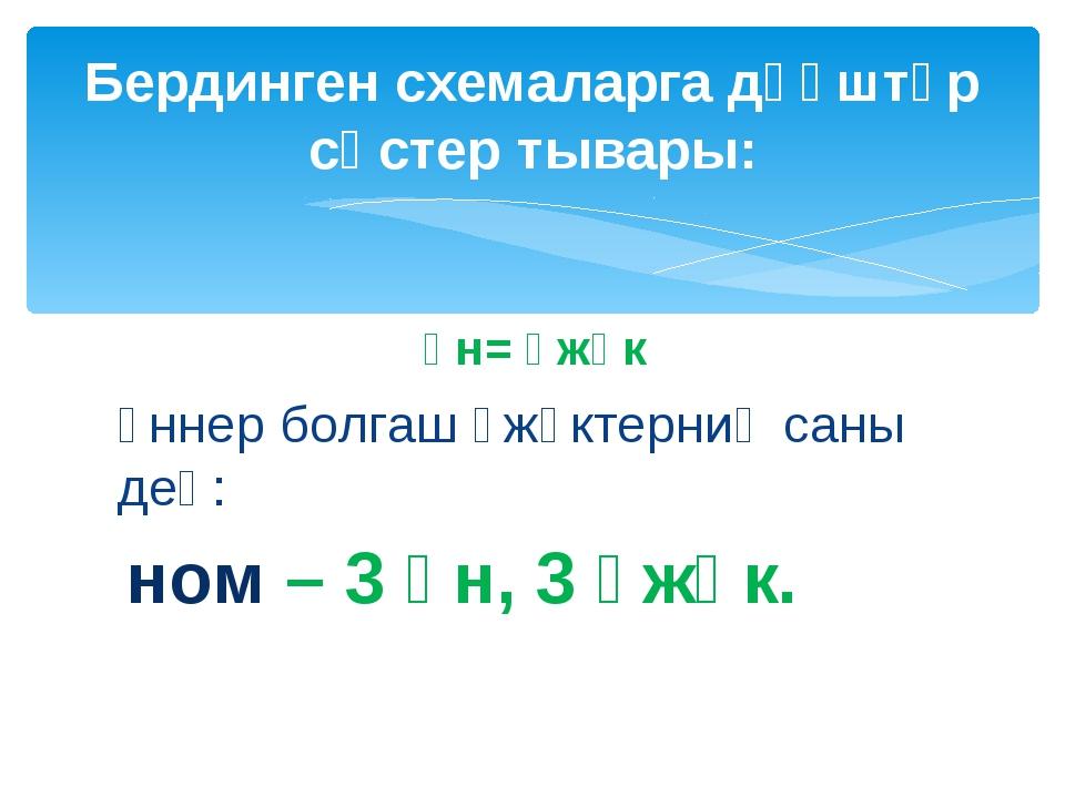 үн= үжүк үннер болгаш үжүктерниң саны дең: ном – 3 үн, 3 үжүк. Бердинген схем...