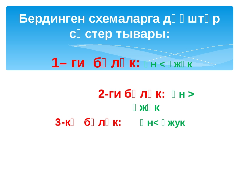 1– ги бөлүк: үн < үжүк 3-кү бөлүк: Үн< үжук Бердинген схемаларга дүүштүр сөс...