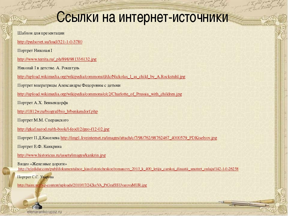 Ссылки на интернет-источники Шаблон для презентации http://pedsovet.su/load/3...