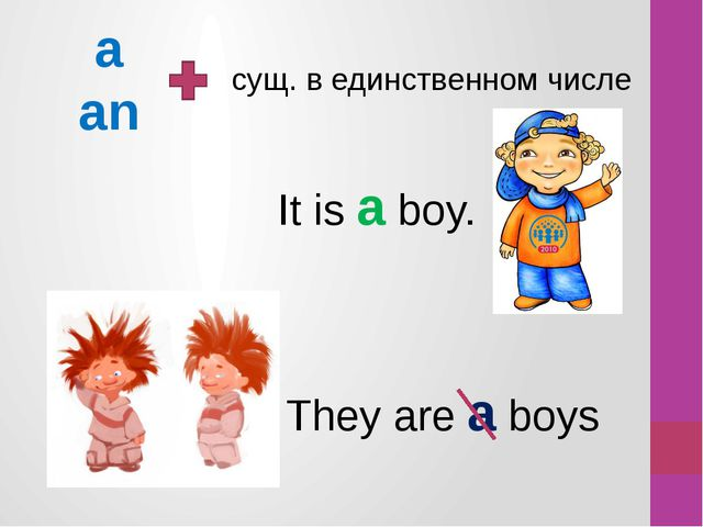 a an сущ. в единственном числе It is a boy. They are a boys