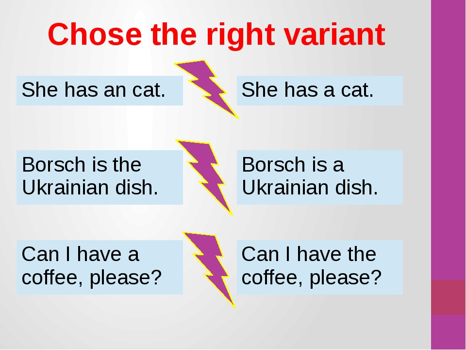 Chose the right variant She has an cat. She has a cat. Borsch is the Ukrainia...