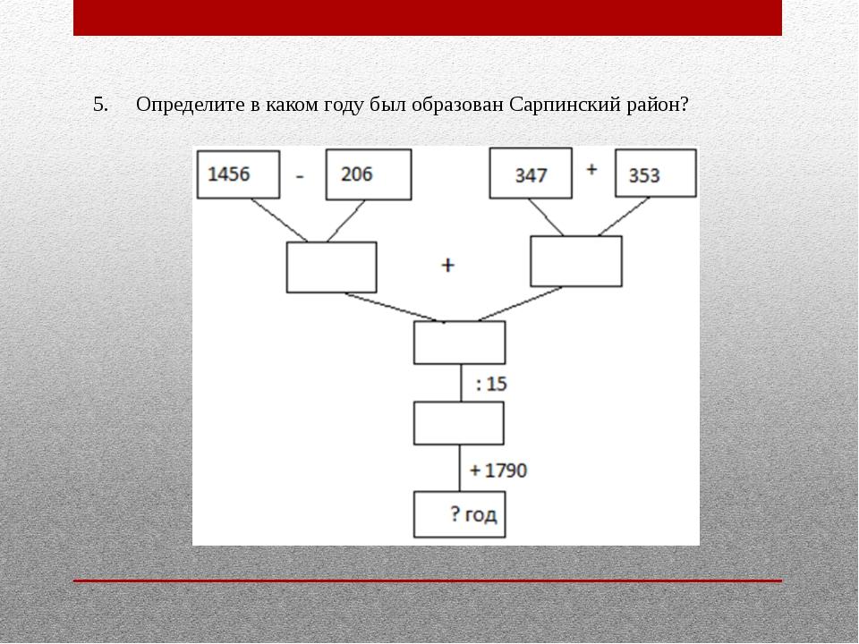 5.Определите в каком году был образован Сарпинский район?