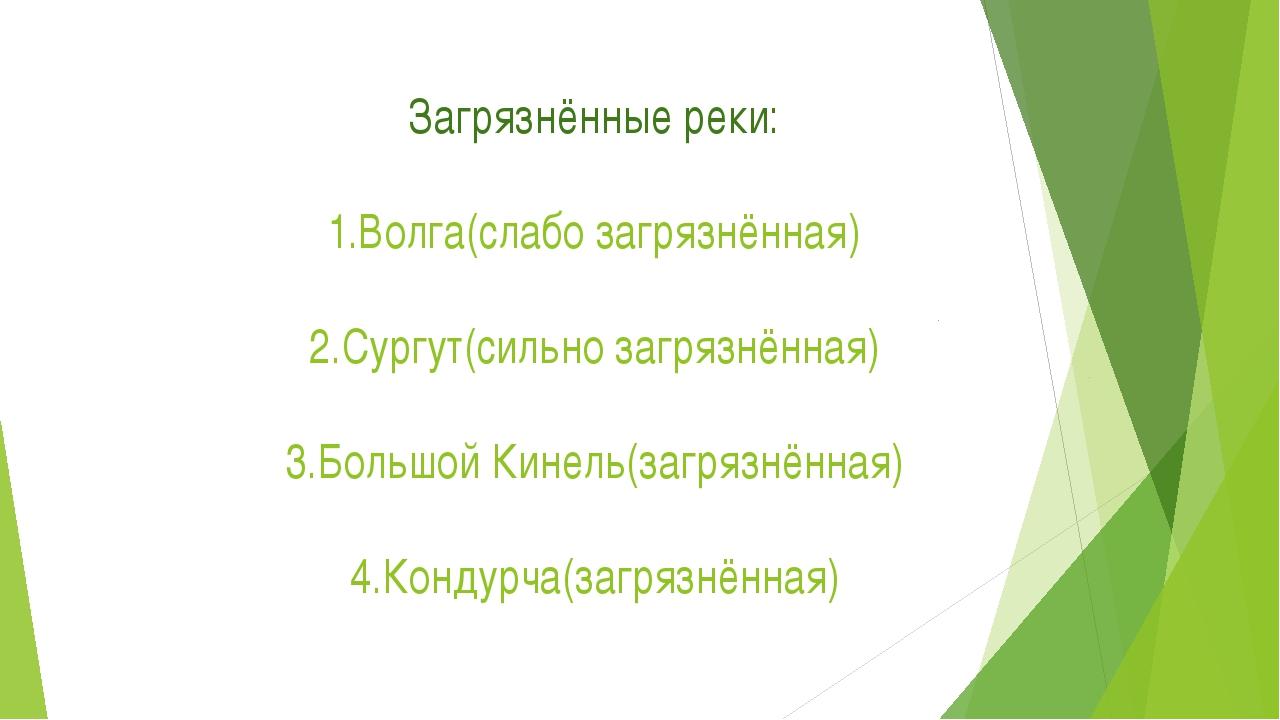 Загрязнённые реки: 1.Волга(слабо загрязнённая) 2.Сургут(сильно загрязнённая)...