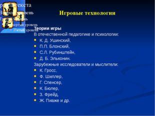 Игровые технологии Теории игры В отечественной педагогике и психологии: К. Д.